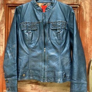 V Cristina Faux Leather Studded Blue Luster Moto L